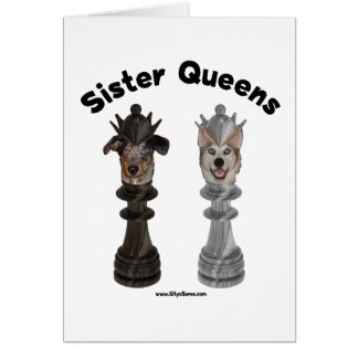 Dog Sister Chess Queens Note Card