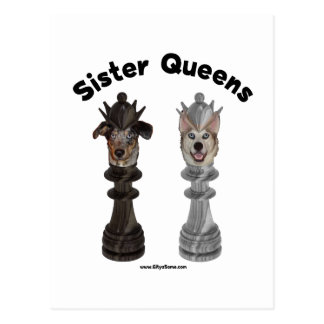 Dog Sister Chess Queens Postcard