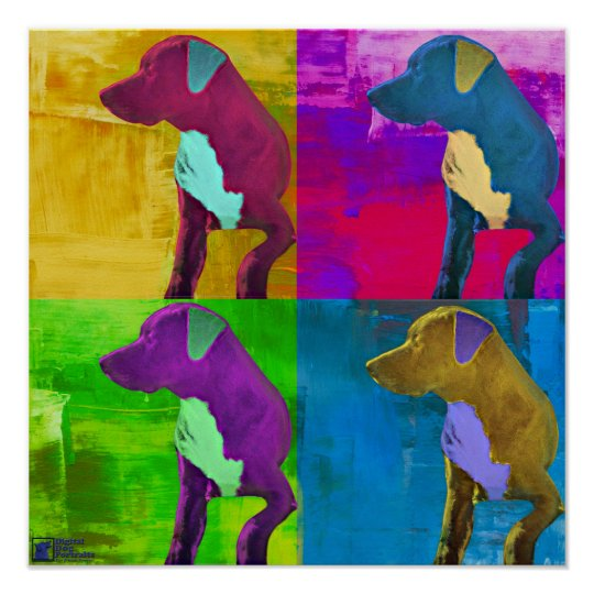Dog Sits and Looks Away Pop Art Style Poster