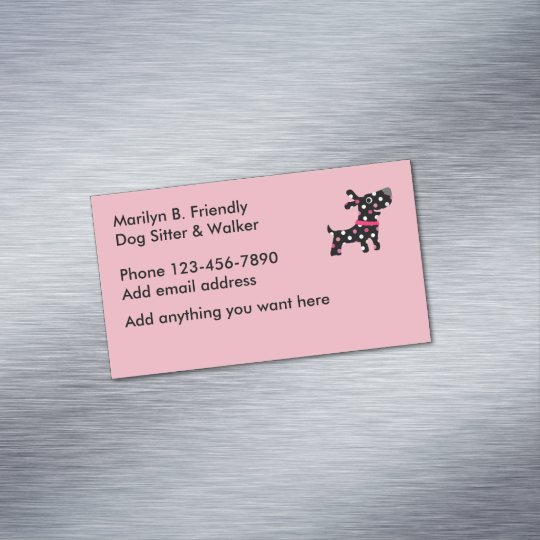 Dog Sitter And Walker Magnetic Business Card
