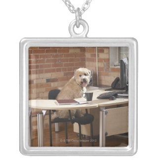Dog Sitting at Desk Silver Plated Necklace