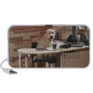 Dog Sitting at Desk Notebook Speaker