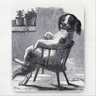 Dog Sitting in a Chair Illustration Mouse Pads