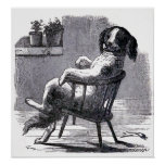 """Dog Sitting in a Chair"" Illustration Poster"