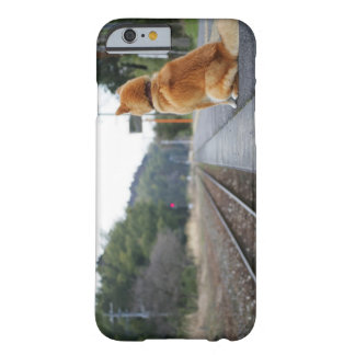 Dog sitting on train station barely there iPhone 6 case
