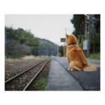Dog sitting on train station poster