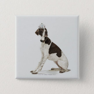 Dog sitting with a tiara on head 15 cm square badge