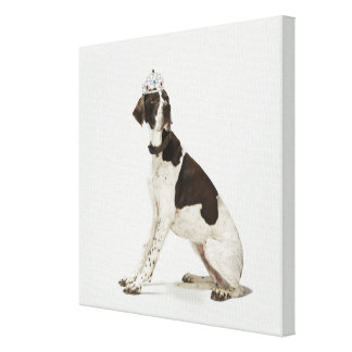 Dog sitting with a tiara on head canvas print