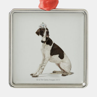 Dog sitting with a tiara on head christmas ornament