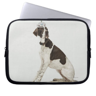 Dog sitting with a tiara on head laptop sleeve