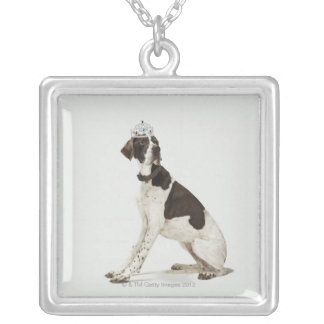 Dog sitting with a tiara on head silver plated necklace
