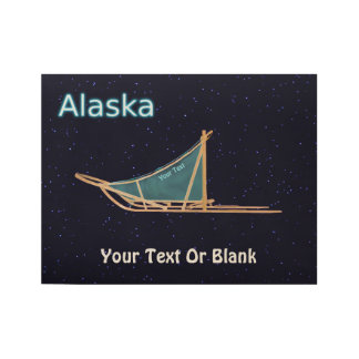 Dog Sled - Alaska Wood Poster