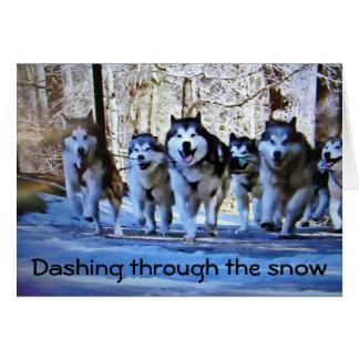 DOG SLED DASHING THRU SNOW GREETING CARD