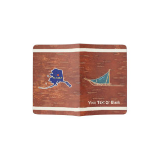 Dog Sled On Inner Birchbark Passport Holder