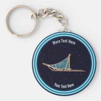 Dog Sled On Stars Key Ring