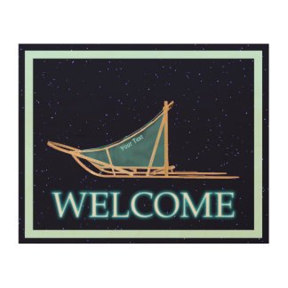 Dog Sled On Stars - Welcome Wood Wall Decor
