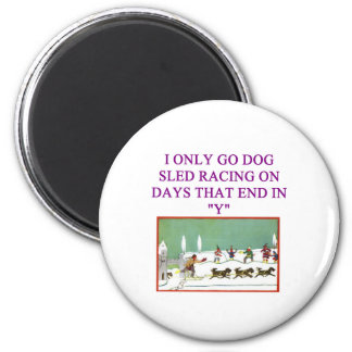 dog sled racing iditarod lover 6 cm round magnet