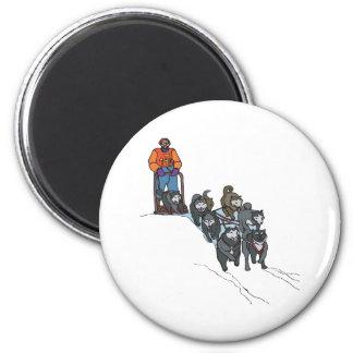 Dog Sledding 6 Cm Round Magnet