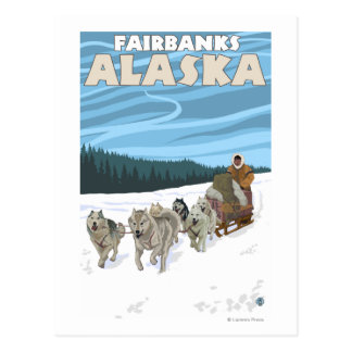 Dog Sledding Scene - Fairbanks, Alaska Postcard