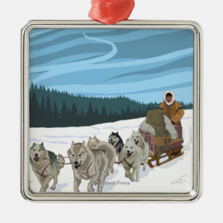 Dog Sledding Scene - Iditarod, Alaska Christmas Ornament