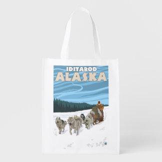 Dog Sledding Scene - Iditarod, Alaska Reusable Grocery Bag