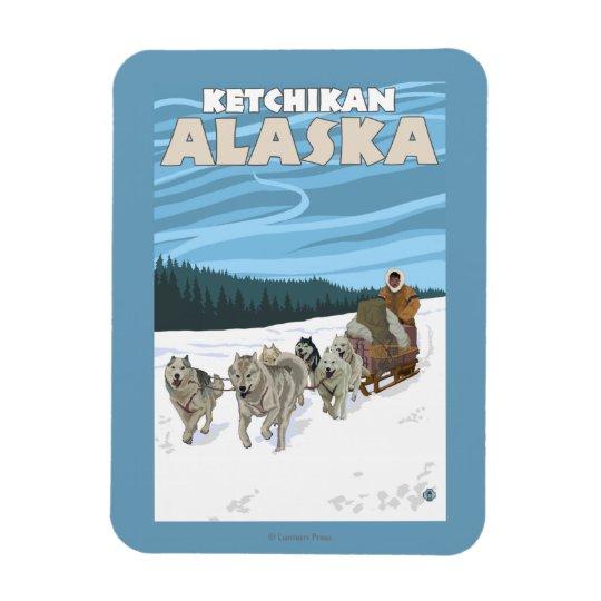 Dog Sledding Scene - Ketchikan, Alaska Rectangular Photo Magnet