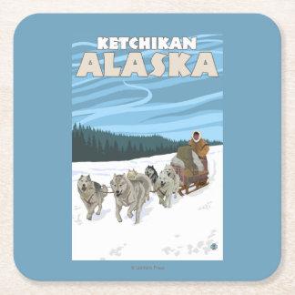 Dog Sledding Scene - Ketchikan, Alaska Square Paper Coaster