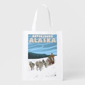 Dog Sledding Scene - Petersburg, Alaska Reusable Grocery Bag