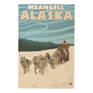Dog Sledding Scene - Wrangell, Alaska Wood Wall Decor