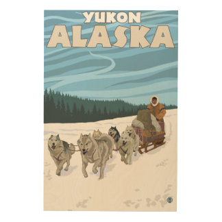 Dog Sledding Scene - Yukon, Alaska Wood Print