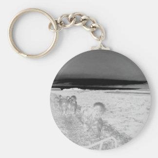 Dog Sledging Basic Round Button Key Ring