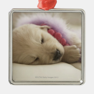 Dog sleeping on bed christmas ornament