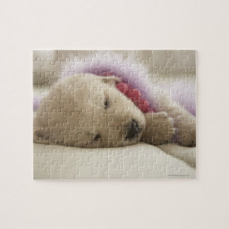 Dog sleeping on bed jigsaw puzzle