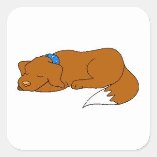 Dog Sleeping Square Sticker