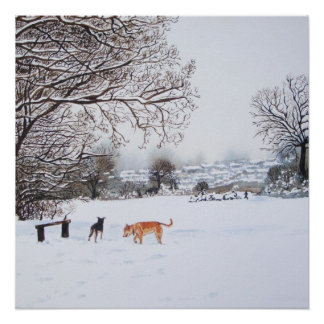 Dog snow scene landscape with trees painting perfect poster