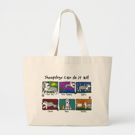 Dog Sports Old English Sheepdog Large Tote Bag
