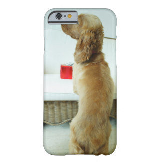 Dog standing on a couch with a gift barely there iPhone 6 case