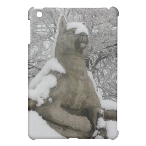 dog statue in snow iPad mini covers