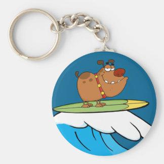 dog surfing cartoon basic round button key ring