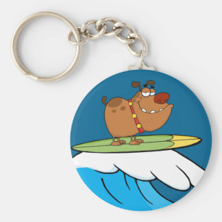dog surfing cartoon key ring