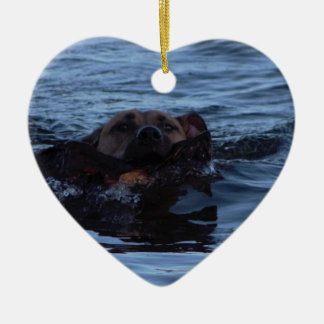 Dog Swimming Fetching Stick Christmas Ornament