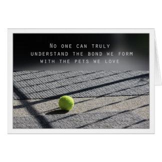Dog Sympathy Card Tennis Ball on Porch