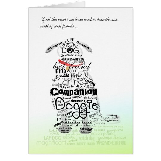 Dog Sympathy Card - Words Used to Describe