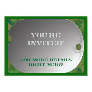 Dog Tag camo style Personalized Invitations