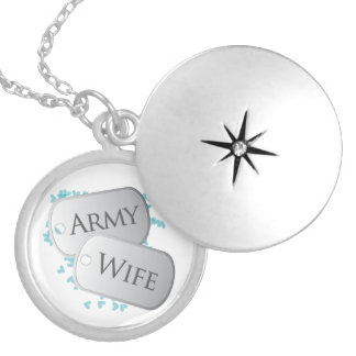 Dog Tags Army Wife Round Locket Necklace