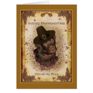 Dog Thanksgiving Across the Miles Greeting Card