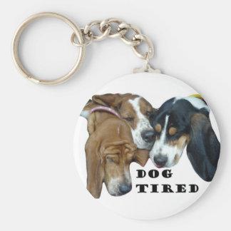 Dog Tired Basic Round Button Key Ring