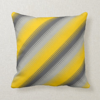 Dog tooth lines yellow grey throw pillow