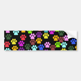 Dog Trails, Puppy Paws, Traces - Red Blue Green Bumper Sticker