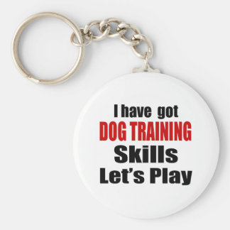 DOG TRAINING SKILLS DESIGNS BASIC ROUND BUTTON KEY RING